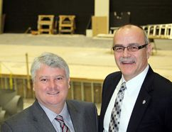 Sault MP Terry Sheehan and HSCDSB Chair John Caputo visit the St. Mary's College theatre, a work in progress with an additional $100,000 provided by FedNor.