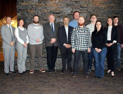 Banff Lake Louise Hospitality Association board of directors and workforce development bursary recipients pose for a group shot at Banff Park Lodge on Thursday, Jan. 12, 2017. Pictured are, left to right, Trevor Long, president of BLLHA and general manager of the Rimrock Resort Hotel, Loren Heider, food and beverage manager of Fairmont Banff Springs Hotel, Pete Grottenberg, general manager of Banff Ave. Brewing Co., Frank Denouden, general manager of Banff Park Lodge, Chris Barr, general manager of Banff Aspen Lodge, Nicholas Veriker, Balkan Restaurant, Davanial Parson, Balkan, Andrew Capone, Rimrock, Ancuta Cantana, Rimrock, Soraya Serrano, Rimrock, and James Edwards, Banff Y Mountain Lodge. (Russ Ullyot/ Crag & Canyon/ Postmedia)