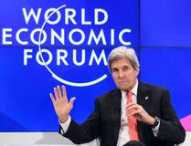 Outgoing US Secretary of State John Kerry gestures on the opening day of the World Economic Forum, on January 17, 2017, in Davos. The global elite begin a week of earnest debate and Alpine partying in the Swiss ski resort of Davos on January 17, 2017 in a week bookended by two presidential speeches of historic import. (FABRICE COFFRINI/AFP/Getty Images)
