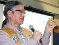 Author and former Fort Albany First Nation chief Edmund Metatawabin gives a speech about his experiences from residential school to a group of Timmins and area students who attended the special presentation held at the Timmins Native Friendship Centre on Tuesday.