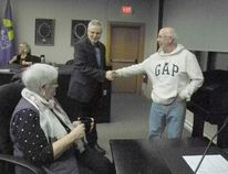 Local MPP Jim McDonell, centre, greets Coun. Claude McIntosh, right, and Coun. Elaine MacDonald before receiving input for pre-provincial budget consultations at a special council meeting on Wednesday. Greg Peerenboom/Cornwall Standard-Freeholder/Postmedia Network
