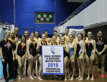 Selkirk Royal's Senior High School Water Polo team after winning the Manitoba Water Polo Association's B division championship. (Submitted photo)