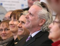 Rob McEwen along with Dr. Terrance Galvin, Founding Director of the Laurentian University, McEwen School of Architecture smile as they listen to speeches at the official grand opening of the school  in Sudbury, Ont. on Thursday January 19, 2017. Gino Donato/Sudbury Star/Postmedia Network