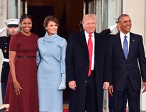 President Barack Obama, right, and Michelle Obama, left, pose with president-elect Donald Trump and wife Melania at the White House before the inauguration on Jan. 20, 2017, in Washington, D.C. Trump becomes the 45th President of the United States. (Kevin Dietsch-Pool/Getty Images)