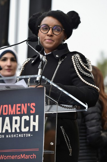 Janelle Monae speaks onstage the Women's March on Washington on January 21, 2017 in Washington, D.C.  (Photo by Theo Wargo/Getty Images)