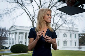President Donald Trump's adviser, Kellyanne Conway, gets ready for a television interview outside the White House, Sunday, Jan. 22, 2017, in Washington. (AP Photo/Manuel Balce Ceneta)