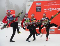 Members of the team of Canada (L-R) Len Valjas, Alex Harvey, Knute Johnsgaard and Devon Kershaw celebrate after placing third in the men's 4x7,5 km relay event at the FIS Cross Country skiing World Cup in Ulricehamn, Sweden, January 22, 2017. / AFP PHOTO / TT News Agency / Adam IHSE / Sweden OUTADAM IHSE/AFP/Getty Images