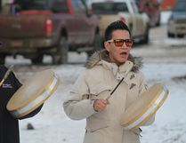 Drummer Rocky Weenonis was joined by his three fellow drummers in showing solidarity with picketing AUPE members in front of Points West Living last week in Cold Lake.