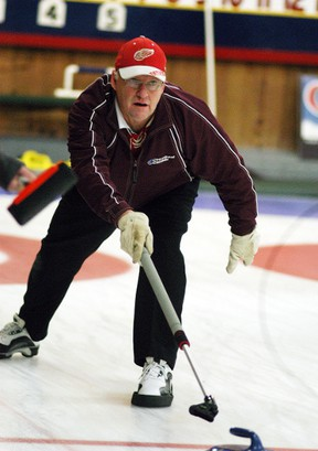 Dave Meyskens releases his rock with a stick, during the 32nd annual All-Ontario Farmers' Bonspiel held at the Sydenham Community Club on Sunday, January 22. Meyskens' team won the B-flight final on Sunday afternoon.