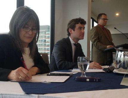 Kingston and the Islands MPP Sophie Kiwala and Etobicoke Centre MPP Yvan Baker, the parliamentary assistant to the minister of finance, take part in a pre-budget consultation meeting in Kingston on Monday. (Elliot Ferguson/The Whig-Standard)