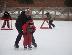 Jay Bueckert and his son Niko enjoy the free family skate day at Jubilee Plaza, Saturday, January 21. Olivia Condon/ Fort McMurray Today/ Postmedia Network