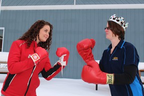 Diane Lamothe (right) representing Brisson Castle Building Centre is prepared to fight to retain her title as Queen of the Wing (a-thon, that is). She is pitted against Amy Third representing Allan's Home Hardware who raised the most money last year for the Club Colombe Richelieu during the event. The pair challenged any woman from Canadian Tire or the community who thinks they can come between them and their chicken titles. They are also not afraid of any of the men who plan on participating in the event.