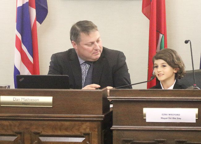 Seven-year-old Ezra Wreford was Mayor for the Day in Stratford on Monday January 23, 2017,  presiding over the evening's city council meeting with fellow mayor Dan Mathieson. (Mike Beitz/Stratford Beacon Herald/Postmedia Network)