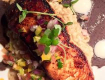 Chipotle-Maple Salmon with Black Bean Puree