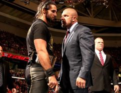 WWE superstar Seth Rollins goes face to face with WWE legend and executive Triple H during an episode of Raw. Rollins, who was a protege of Triple H's during his WWE title run, wants a match with the man known as The Game. (Courtesy of World Wrestling Entertainment)