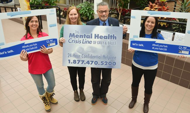 CMHA staff were at Heritage Place Mall Wednesday for Bell Let's Talk Day. (DENIS LANGLOIS/THE SUN TIMES)