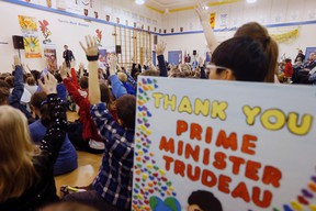Prime Minister Justin Trudeau visits with staff and students at Robert H. Smith School in Winnipeg, Thursday, January 26, 2017. Trudeau spent the day in Winnipeg as part of his cross-country tour. THE CANADIAN PRESS/John Woods