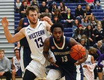 Nipissing Lakers men's basketball player Marcus Lewis (13) in action against Western early in the 2016 season. Nugget File Photo