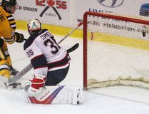 Sarnia Sting forward Sean Josling scores on Saginaw Spirit goalie Evan Cormier during the Ontario Hockey League game at Progressive Auto Sales Arena on Sunday, Jan. 29, 2017 in Sarnia, Ont. Josling, a 17-year-old rookie from Toronto, scored his seventh of the season as the Sting won 6-5. Terry Bridge/Sarnia Observer/Postmedia Network