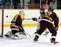 The Kapuskasing Flyers' Mathieu Parent, a former bantam 'AAA' Timmins Eagle, puts his hat-trick marker into the net over the shoulder of Timmins Majors goalie Dakota McCarthur in the third period of Sunday's 11-3 Flyers victory at the Archie Dillon Sportsplex in Great North Midget League action. BENJAMIN AUBÉ/THE DAILY PRESS