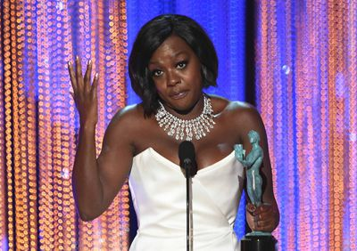 Actress Viola Davis accepts the award for Outstanding Performance by a Female Actor in a Supporting Role for 'Fences' during the 23rd Annual Screen Actors Guild Awards show at The Shrine Auditorium on January 29, 2017 in Los Angeles, California. (ROBYN BECK/AFP/Getty Images)