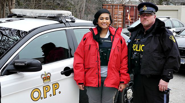 Ragini Suresh, St. Leonard's Community Services mental health specialist, stands with Brant OPP Const. Blaine Hickey to promote the launch of a team approach to mental health issues in Brant County. (Submitted Photo)