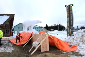 Drivers may have noticed  work progressing in front of the Board of Trade building last week. It is not the base for the new Chimo, instead it is a illuminated sign that the Town is erecting. It will be on display in a few weeks.
