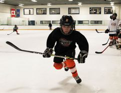 PAUL KRAJEWSKI HIGH RIVER TIMES/POSTMEDIA NETWORK. Owen Hurst, #3 for the High River Atom A Flyers, launches off the line during practice at the Blackie, Alta., arena on Jan. 24, 2017.