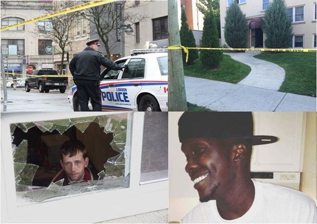 Top left: A police officer at the scene of a Nov. 19 shooting near Richmond and Carling streets. Top right: Police tape cordons off an apartment where a man was shot on Aug. 24. Bottom left: Jeff Hall looks out the basement window of his Marconi Boulevard home that was shattered by a shotgun blast on Oct. 8. Bottom right: Emmanuel Awai, 26, was fatally shot inside his Connaught Avenue apartment on Dec. 28.