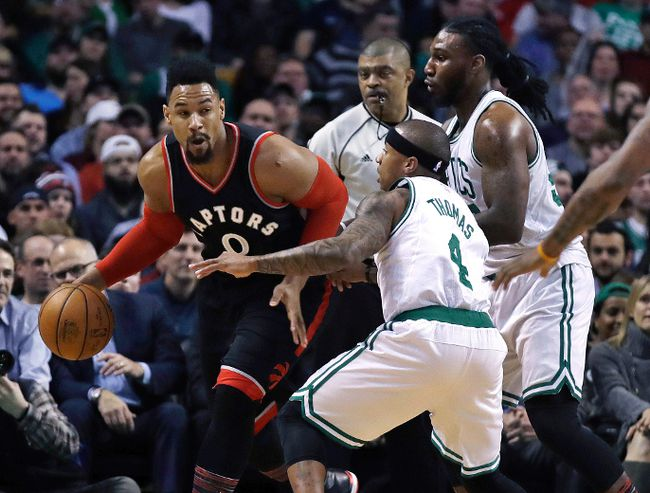 Raptors centre Jared Sullinger (0) is trailed by Celtics guard Isaiah Thomas (4) and forward Jae Crowder during first quarter NBA action in Boston on Wednesday, Feb. 1, 2017. (Charles Krupa/AP Photo)