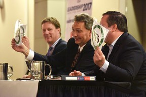Alberta Conservative Party leadership candidate Richard Starke seems flustered during a lighthearted lightning round session of silly questions with Byron Nelson (left) and Jason Kenney at the Pomeroy Hotel on Friday January 27, 2017 in Grande Prairie, Alta. The three candidates debated and answered questions from the public for an hour-and-a-half. Svjetlana Mlinarevic/Grande Prairie Daily Herald-Tribune/Postmedia Network