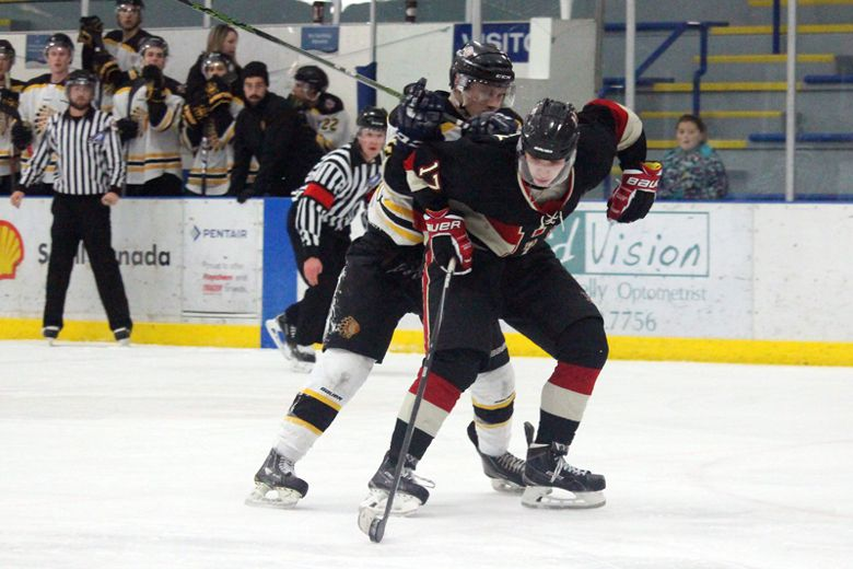 The Fort Saskatchewan Noyen Construction Junior B Hawks thumped the top-ranking eastern division team, the Beaumont Chiefs, in a 8-4 win at the JRC on Jan. 27. However, they ran out of puck luck and time against Spruce Grove in an away game on Jan. 29 and took a 6-5 loss. (Lindsay Morey/Record Staff)