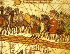 The 1375 Catalan Atlas depicts Marco Polo travelling to Cathay on the Silk Road. The Atlas's illustrations notably feature Polo's Book of Marvels (commonly called The Travels of Marco Polo), the 13th-century travelogue describing his treks through Asia between 1276 and 1291, and his experiences at the court of Kublai Khan. It was a rare popular success in an era before printing. Trade between China and Europe via the Silk Road had existed for more than 1,000 years by the time of Polo's trip. Wikipedia