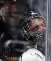 Singer Justin Bieber, who is playing for Team Gretzky, is pushed into the glass by Chris Pronger of Team Lemieux during the NHL All-Star Celebrity Shootout at Staples Center on Jan. 28, 2017. (AP Photo/Mark J. Terrill)