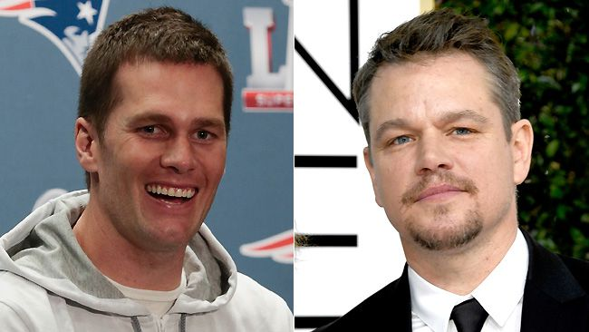 New England Patriots Quarterback Tom Brady and Matt Damon are seen in this combination file photo. (Bob Levey/Frazer Harrison/Getty Images)