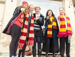 From left to right: Keara Flood, Alice Wilson, Maya Wilson, Anik Watson and Megan Furlong at the festival in Goderich last October. They came to Goderich from Stratford dressed as their favourite Harry Potter characters to experience what it'd be like to live in the world of the famous books for a day. (Darryl Coote/Postmedia Network)