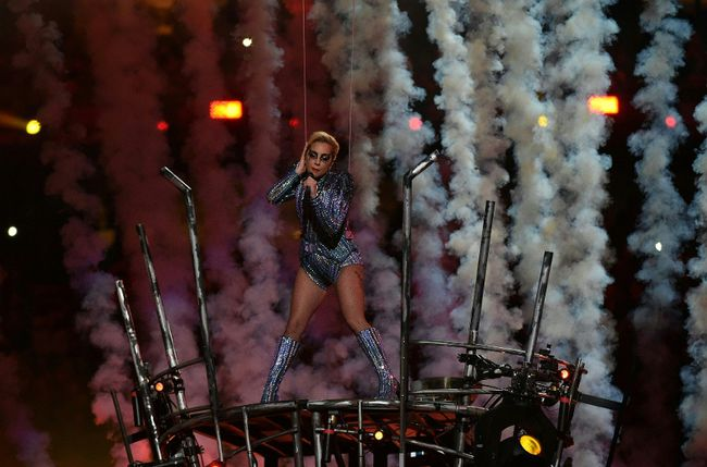 Singer Lady Gaga performs during the halftime show of Super Bowl LI at NGR Stadium in Houston, Texas, on February 5, 2017. VALERIE MACON/AFP/Getty Images