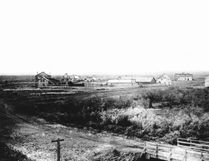 PHOTO COURTESY OF THE MUSEUM OF THE HIGHWOOD. An image of High River photographed before 1900. Museum staff members were unable to locate a railway station or tracks as these came in 1892-1893. Thus, it's difficult to date this image. One can see the McDougall House on the right, Buck Smith's second Stopping House and Drew's Saloon, which was built in 1886 on Fourth Avenue SW (near the new provincial building). The wooden bridge in the bottom right could be the first built in 1887 or the second built in 1897. Macleod Trail sweeps immediately to the right past the bridge.