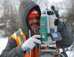 Garry Colorado of the firm Geomapleare was performing survey work on Basil Avenue in Simcoe last winter. Norfolk County has decided to defer the Basil improvement project until 2018. MONTE SONNENBERG/SIMCOE REFORMER FILE PHOTO