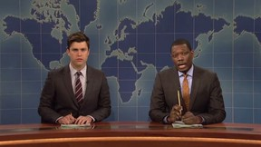 Colin Jost and Michael Che host Weekend Update on Saturday Night Live. (Screengrab)