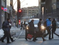 Pedestrians walk on McGill College Avenue in Montreal, Feb. 8, 2012. (Vincenzo D'Alto/THE MONTREAL GAZETTE)