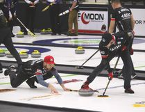 Mike McEwen finished the qualifying round undefeated and will take to the ice tonight at 7:45 p.m. in the Viterra men's provincial curling championship playoff round at Stride Place in Portage la Prairie. (Brian Oliver/The Graphic)