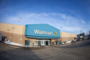 The front entrance of the Walmart in downtown Fort McMurray Alta. on Friday January 13, 2017. Walmart Canada was hit with 174 counts of Public Health Act violations related to the handling of food at their Fort McMurray store following May's wildfire. Robert Murray/Fort McMurray Today/Postmedia Network