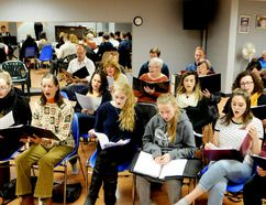Cast members of the Brockville Operatic Society's production 'Something Magical' run through a song during rehearsal at the Brockville Arts Centre musi-theatre in January. (RONALD ZAJAC/The Recorder and Times)