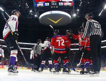 Team Cherry players celebrate their empty net goal against Team Orr during the CHL/NHL Top Prospects Game at the Videotron Center on Jan. 30, 2017. (Mathieu Belanger/Getty Images)