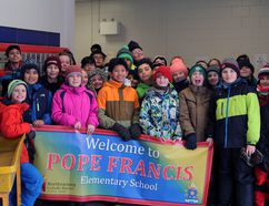 Students from St. Paul School and Sacred Heart School came together on Friday afternoon to send a book of prayers they had written themselves to Pope Francis in Rome. The project was meant to teach the kids about the Pope and prayer and to give them an opportunity to mingle together and begin to form ties between the two schools. The schools will be consolidated into one, with the new name Pope Francis Elementary, in September.