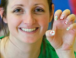 Jen Bonnick of Wellesley, Ontario shows her nails painted for the 2017 Ontario ParaSport Winter Games, as she gets set to play in a sitting volleyball match on Saturday at the Wayne Gretzky Sports Centre in Brantford. Brian Thompson/Brantford Expositor/Postmedia Network