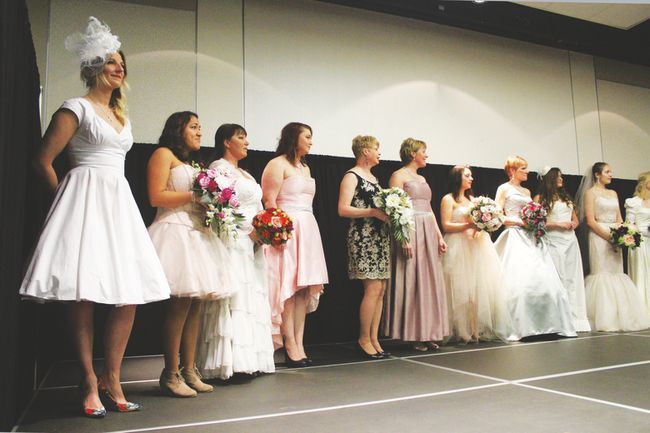 Michelle Bossert's dresses were part of a bridal fashion show at the MacKenzie Centre held February 5.