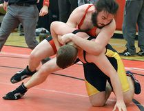 Dan Veley (BSS) vs. Brayden Mondoux (THS) in the male 83kg final at the BQ wrestling championships held recently at Bayside. Veley won the gold medal match. (Catherine Frost for The Intelligencer)