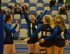The women's volleyball Huskies ended their season with a win Saturday over the Concordia Thunder after a loss Friday. The team said goodbye to two of their players in captain Nicole Robinson, middle, and Meghan Roe. Robert Murray/Fort McMurray Today/Postmedia Network
